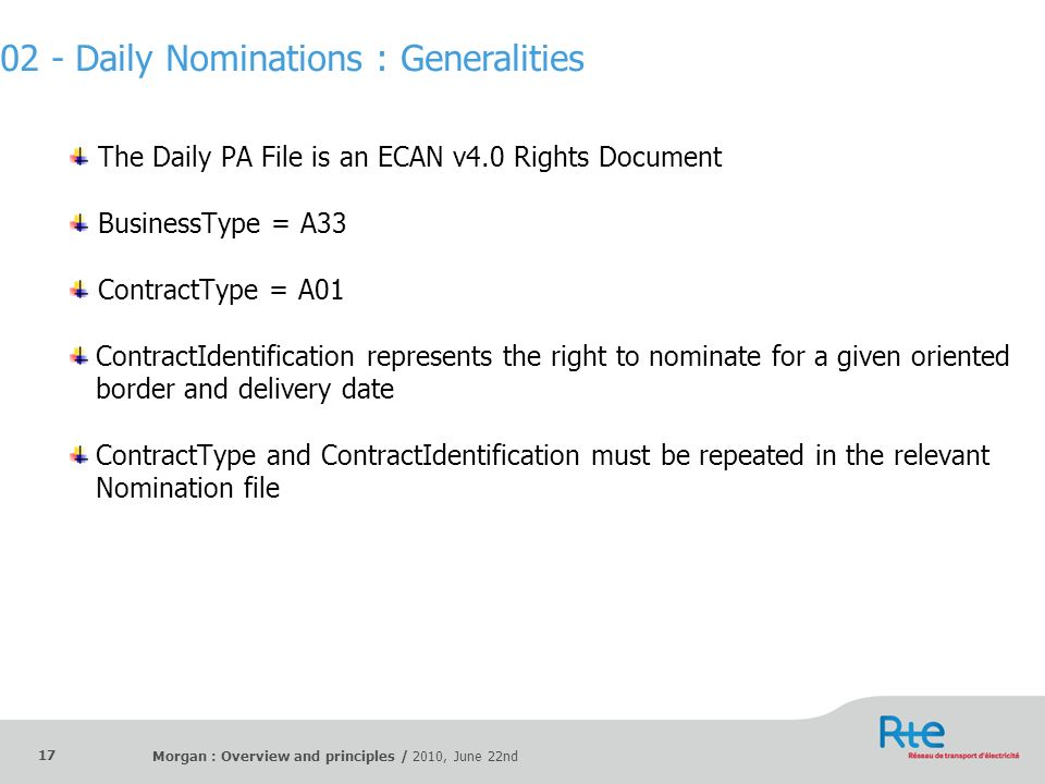 02 - Daily Nominations : Generalities