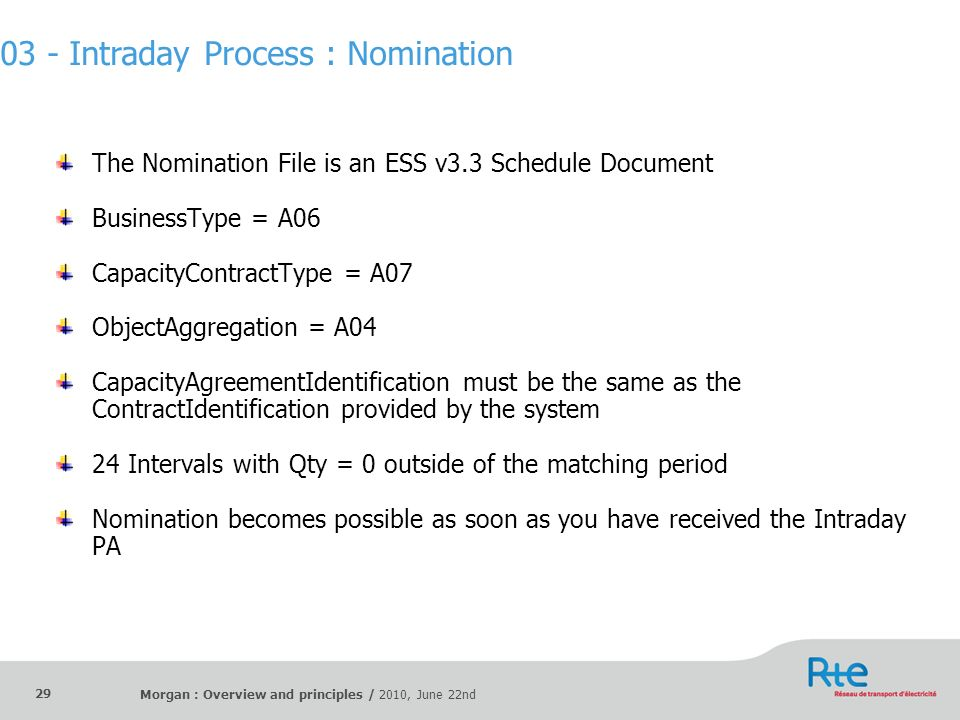 03 - Intraday Process : Nomination
