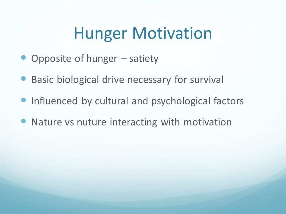 description of the physiological factors of hunger and satiety Appetite and hunger involve the interaction of your brain and hormones, and they  are  ventromedial hypothalamus: definition & function how environmental  variables & other factors influence perception  the physiology of appetite.