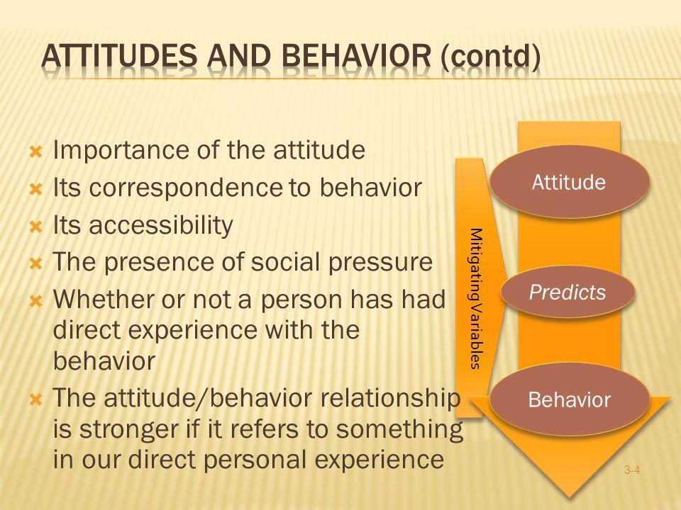 Attitudes and Behavior (contd)
