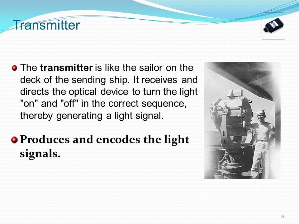 Transmitter Produces and encodes the light signals.