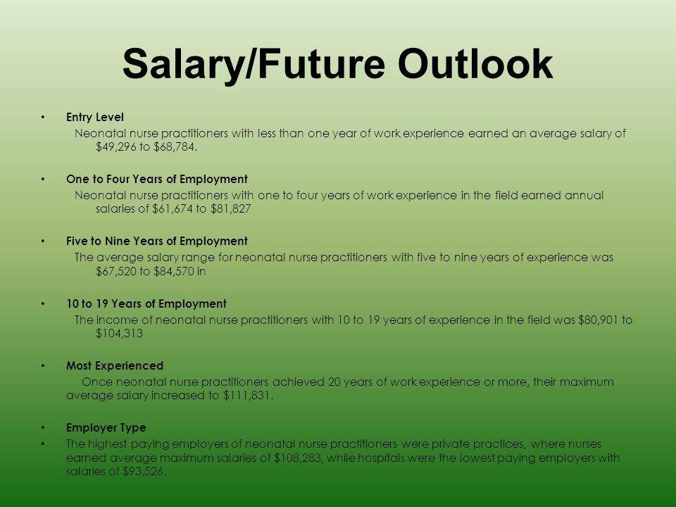 7 salaryfuture outlook - Working Conditions Of A Neonatal Nurse