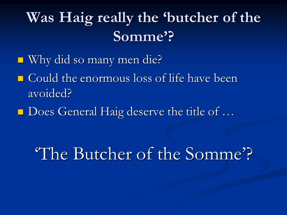 These sources are not about Haig and the Battle of the Somme Essay