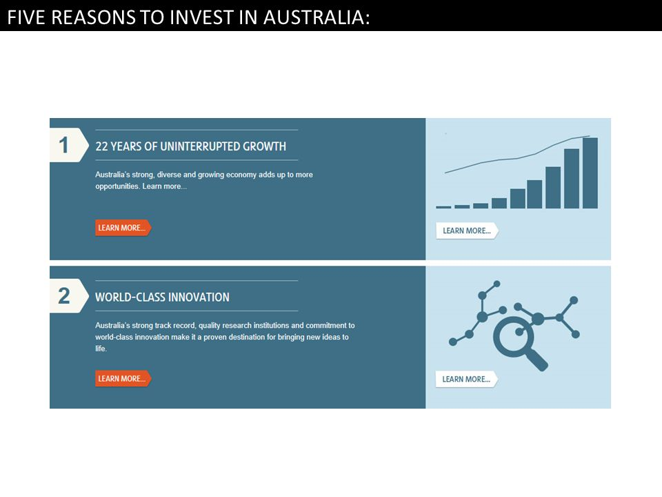 FIVE REASONS TO INVEST IN AUSTRALIA: