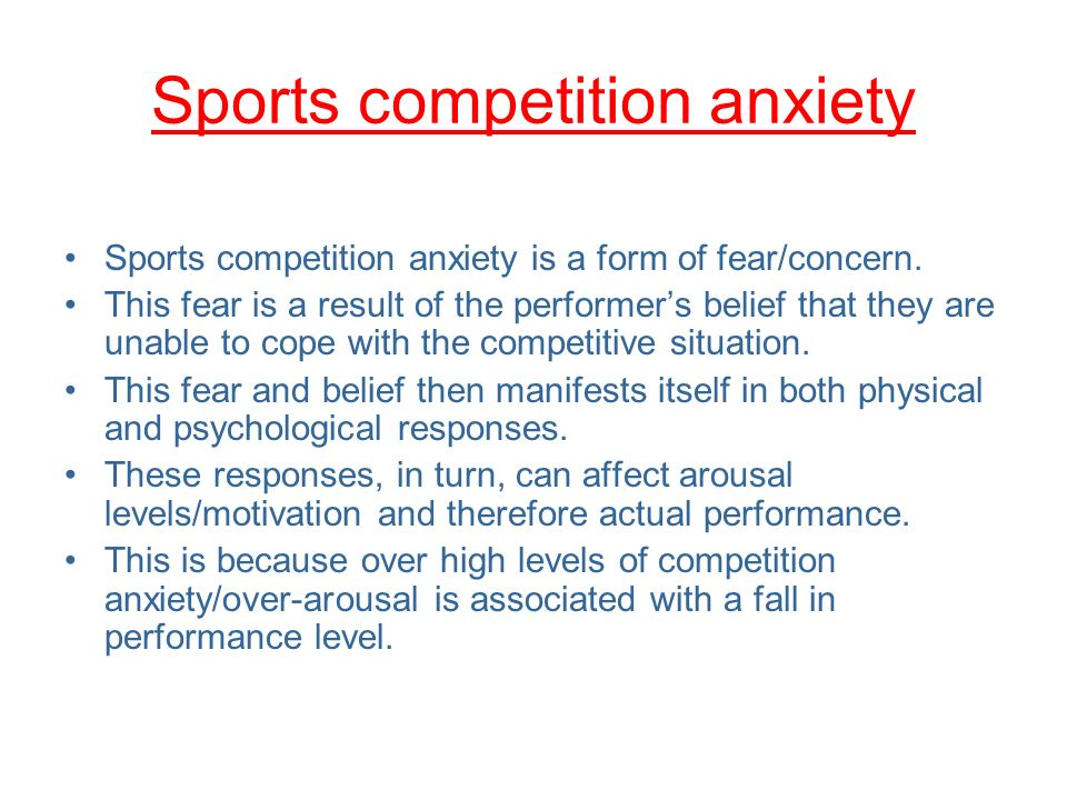 competitive anxiety This study sets out to evaluate the effect of mental skills training on pre-match competitive anxiety in schoolboy rugby players participants (m = 133 years) were assigned into control (n = 20) and intervention groups (n = 20).
