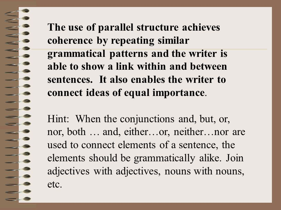 Parallelism In Writing Thesis Statement