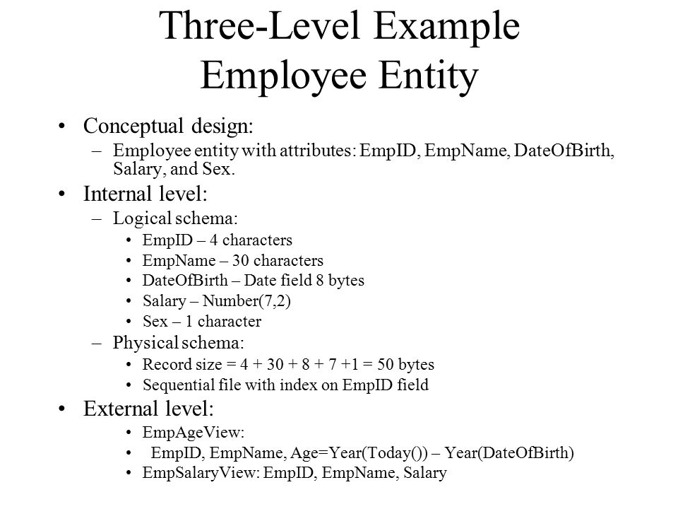 Three-Level Example Employee Entity