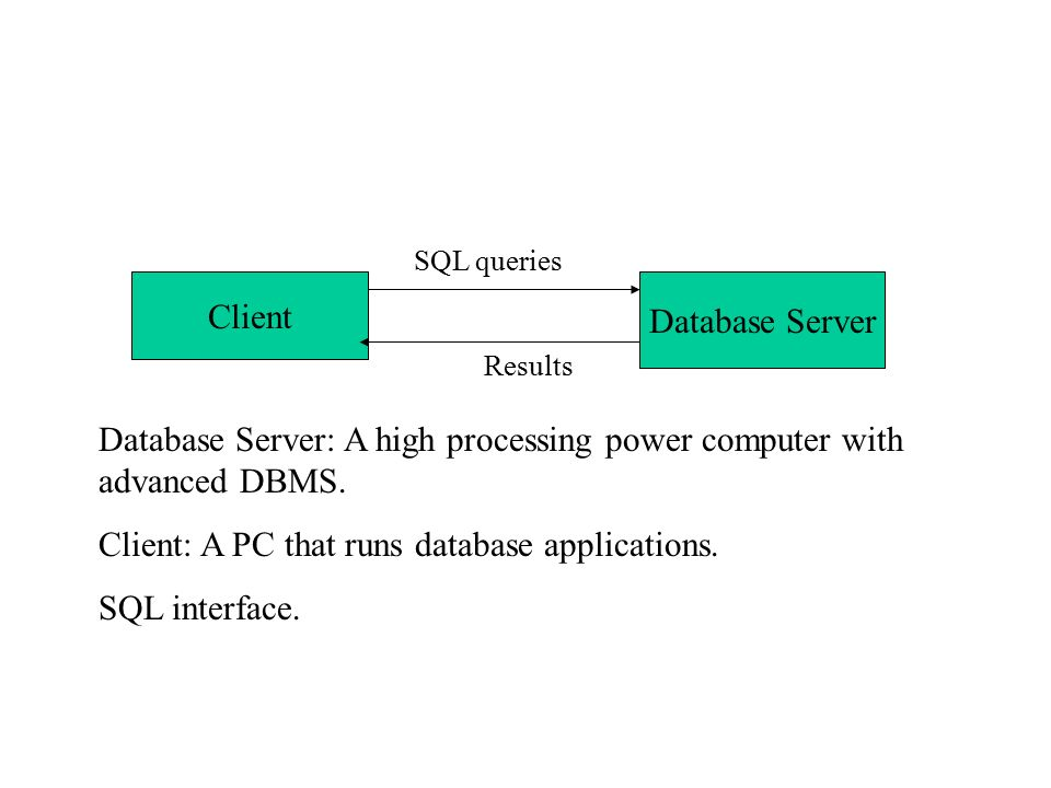 Database Server: A high processing power computer with advanced DBMS.
