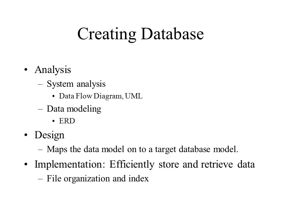Creating Database Analysis Design