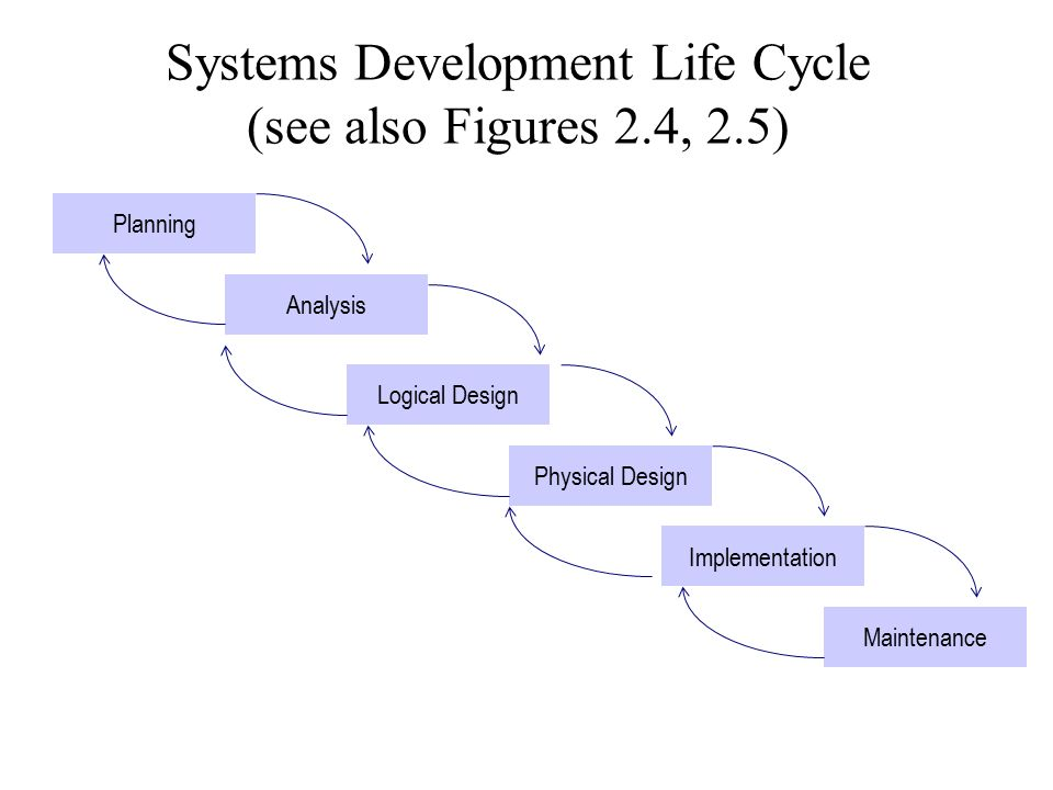 Systems Development Life Cycle (see also Figures 2.4, 2.5)