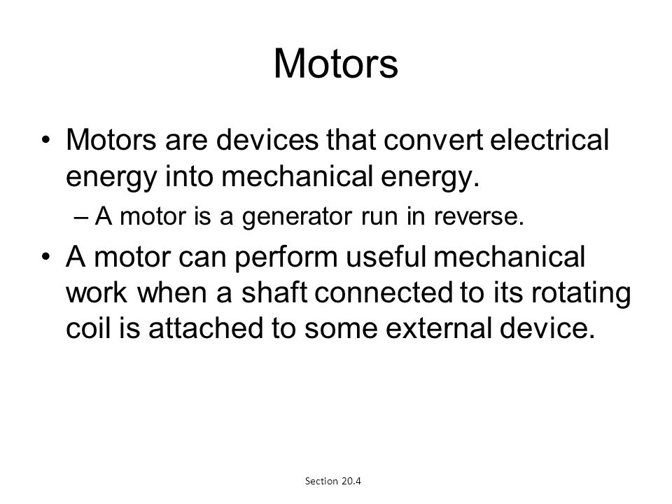 Electromagnetic induction ppt video online download for Turn an electric motor into a generator