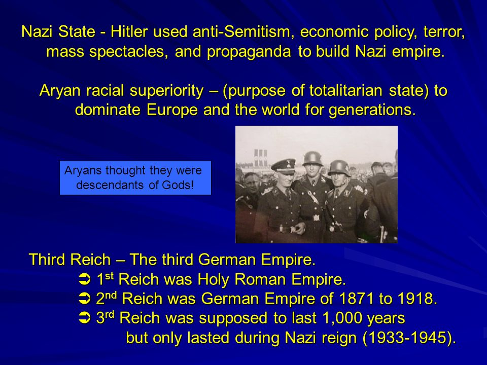 racial propaganda during the reign of the third reich This section of the timeline explores the methods used to accomplish the nazification of germany from jews were also defined as a separate race under the law for the protection leni riefenstahl was commissioned to create a film, olympia, for the purpose of nazi propaganda some have.