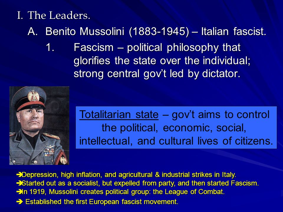 the over inflated ego of benito mussolini an italian world war ii fascist dictator Benito amilcare andrea mussolini was an italian politician and journalist who  was the leader of the national fascist  mussolini served in the royal italian  army during the war until he was wounded and discharged in 1917  1939,  resulting in declarations of war by france and the uk and the start of world war ii  on 10.