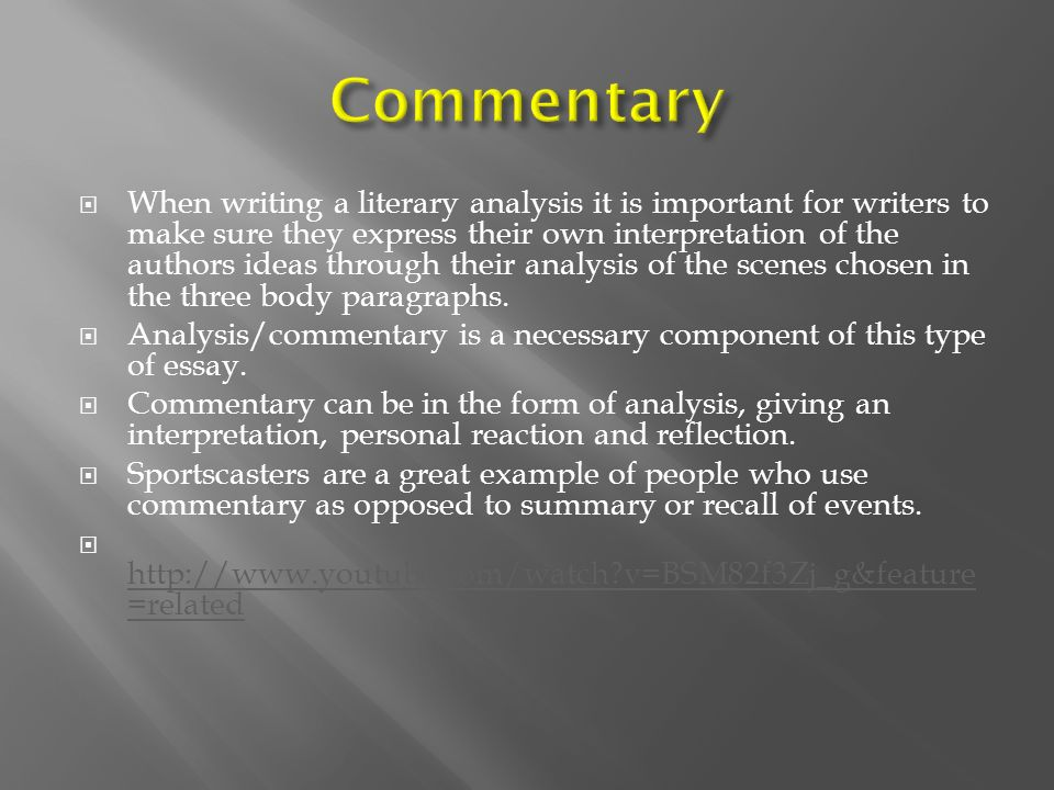 a literary analysis essay includes an introduction paragraph a body and a conclusion paragraph Literary analysis writing study guide by splaut includes 21 questions covering vocabulary, terms and more  has introduction paragraph, three body paragraphs, and concluding paragraph  list and explain what should be included in the introduction of a literary analysis essay and in what order-a single, declarative sentence at the end of.