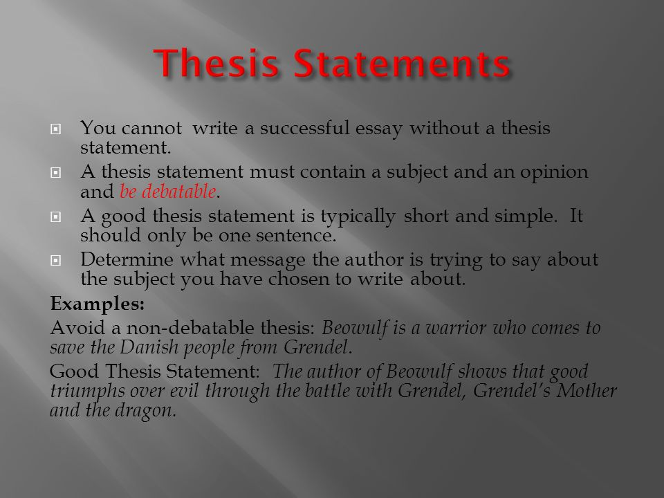 thesis statement in essay writing To make absolute statements usually causes your essay's thesis to seem foolishly simplistic get click on the my thesis button to see your thesis statement.