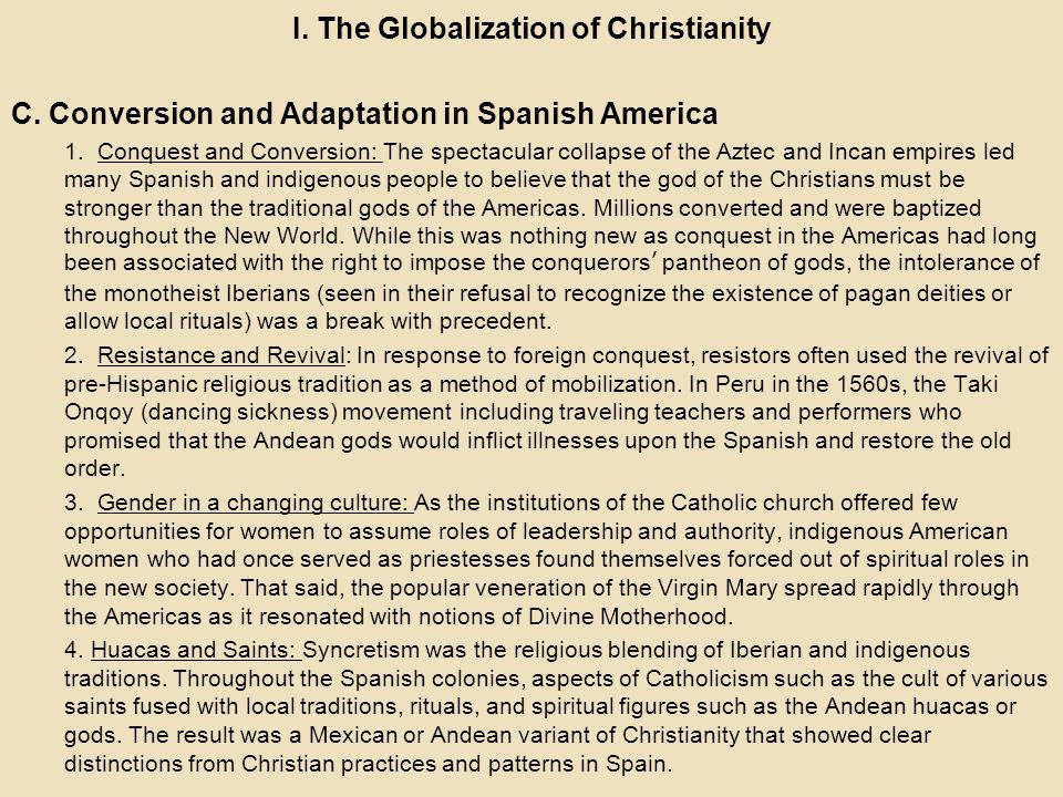 I. The Globalization of Christianity