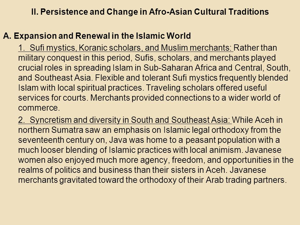 II. Persistence and Change in Afro-Asian Cultural Traditions