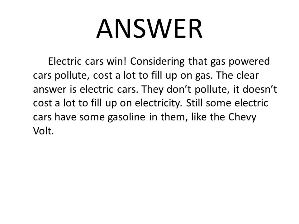 Gas Vs Electric Cars By John Powell Ppt Video Online Download