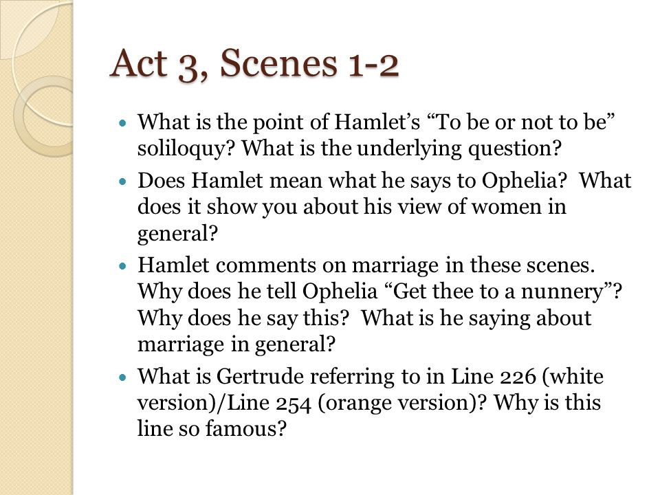 hamlet soliloquy essay questions Hamlet: soliloquies essays: home » essay » hamlet soliloquies in his first soliloquy, hamlet is overwhelmed with questions about the.