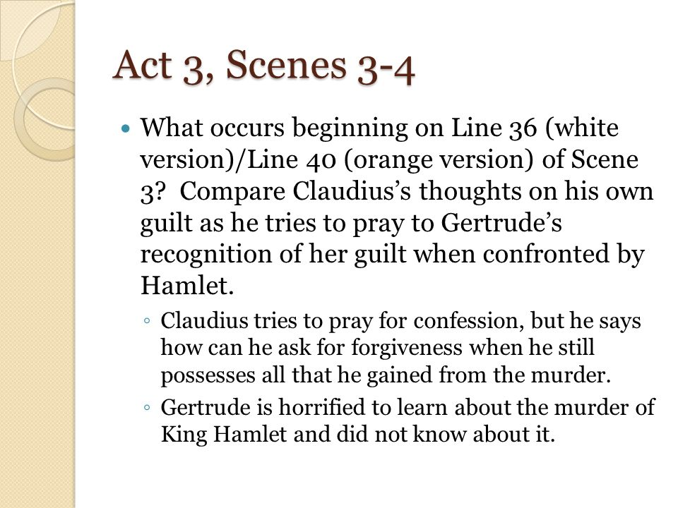 gertrude did not know about king This suggests that she had nothing to do with it and possibly does not know that claudius killed king hamlet act 3, scene 1 the nunnery scene gertrude again shows motherly concern.