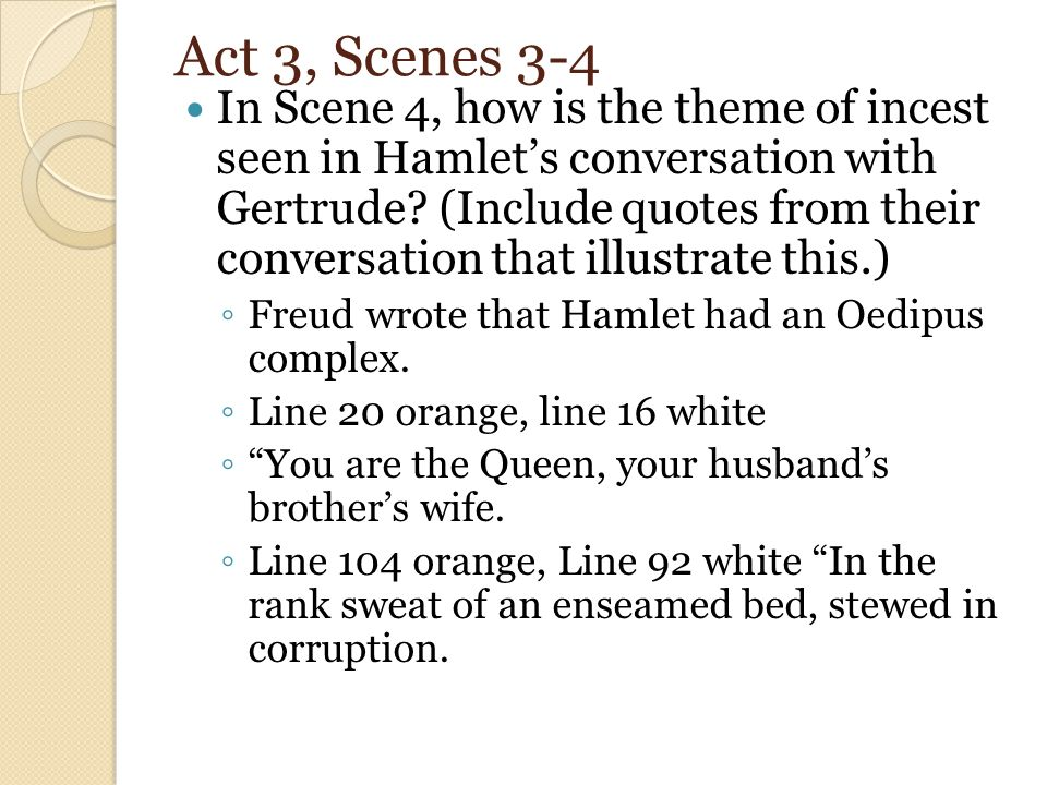 oedipus complex in hamlet The american journal of psychology/volume 21/the œdipus-complex as an explanation of hamlet's mystery: a study in motive.
