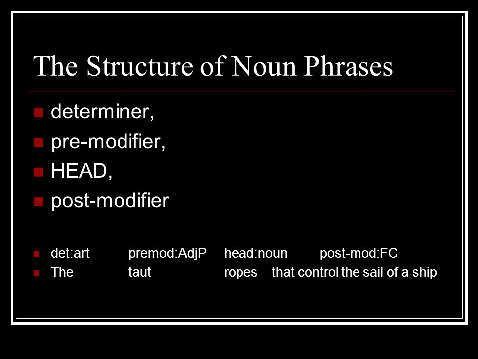 determiners and modifiers of noun phrase english language essay The essay format essay questions elements in the noun phrase that can function as heads of noun phrases, and on determiners modifiers are dealt with in the.