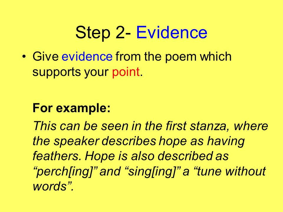 how to write a literary essay ppt video online  step 2 evidence give evidence from the poem which supports your point for example