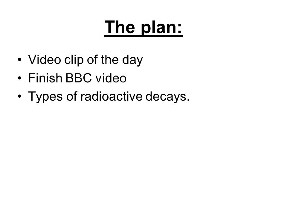 The plan: Video clip of the day Finish BBC video