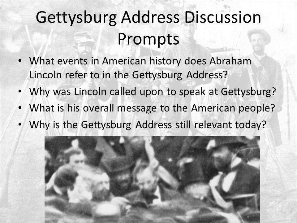 message gettysburg address This site contains the full text of the gettysburg address as well as rough drafts and the only known photo of lincoln at gettysburg mr lincoln's virtual library the library of congress offers this collection of over 30,000 items by and about abraham lincoln.