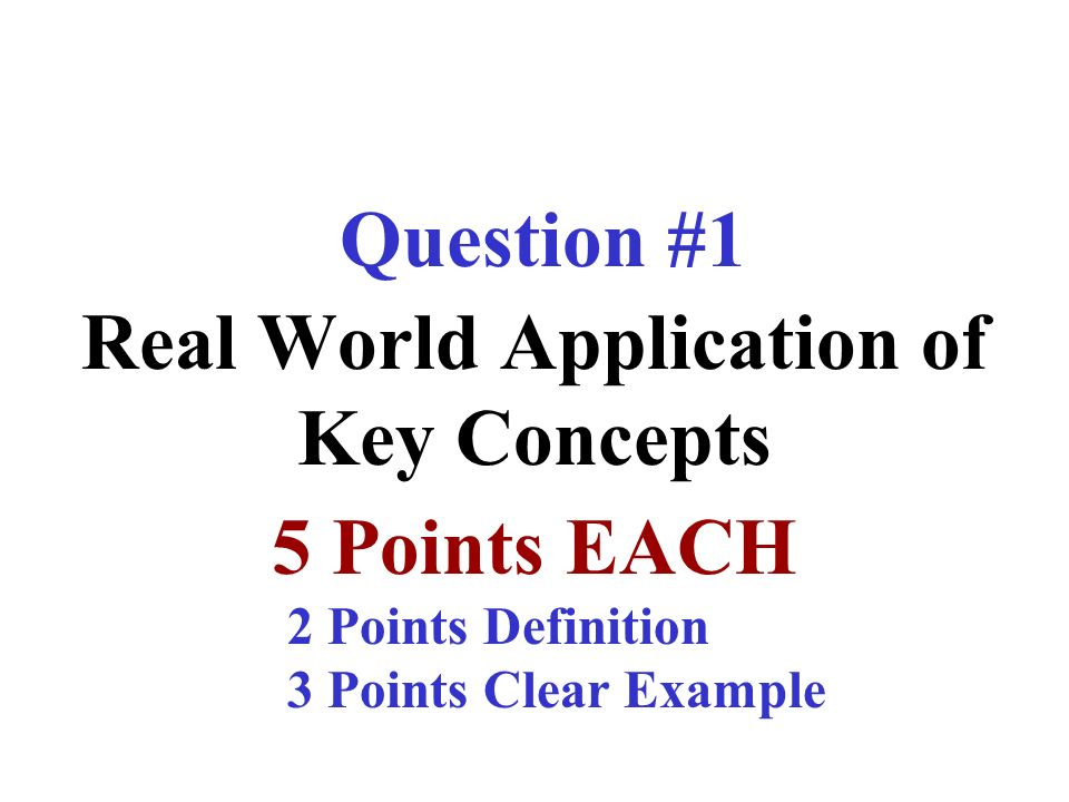 Real World Application of Key Concepts