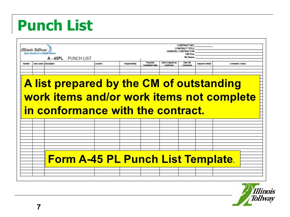 punchlist template - construction managers manual ppt video online download