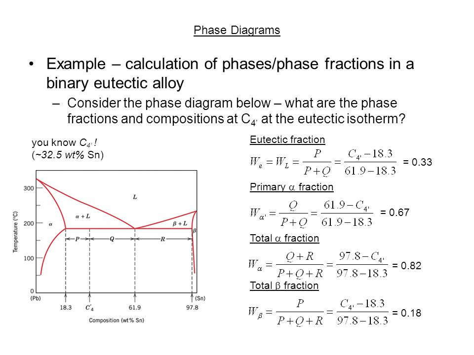 Chapter 10 phase diagrams ppt download phase diagrams example calculation of phasesphase fractions in a binary eutectic alloy ccuart Gallery