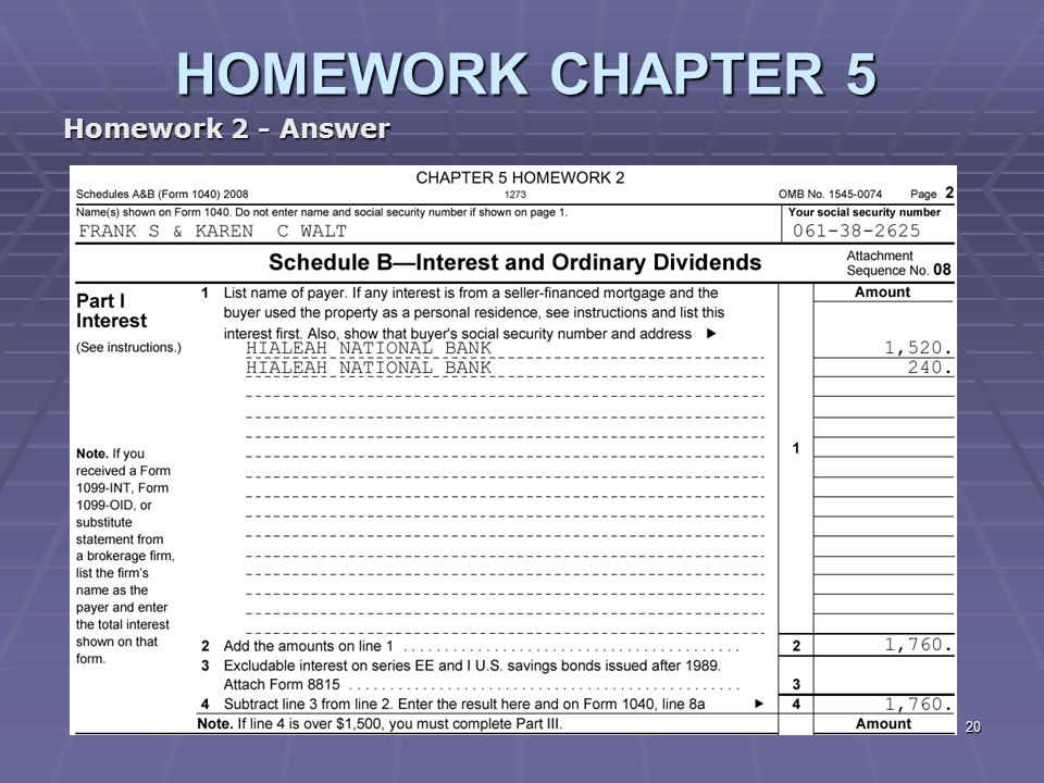 answer to homework of chapter two