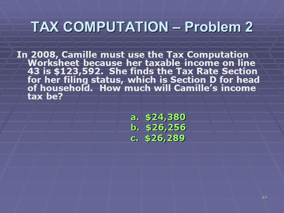 Liberty Tax Service Online Basic Income Tax Course Lesson 6 ppt – 2012 Tax Computation Worksheet