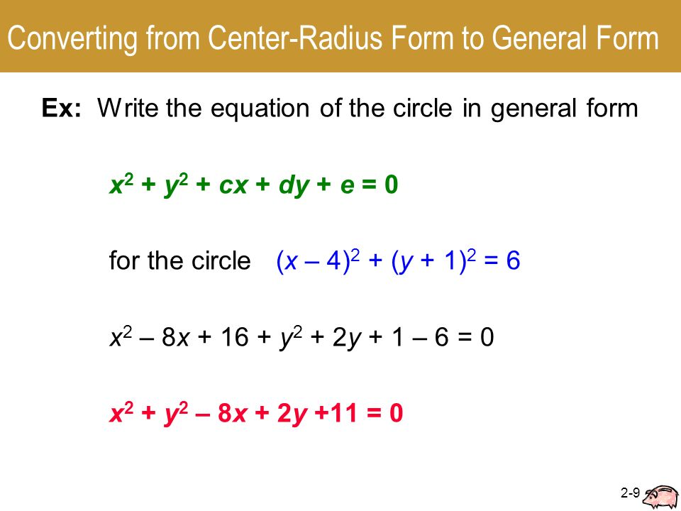 2.2 Circles Center-Radius Form □ General Form. - ppt video online ...