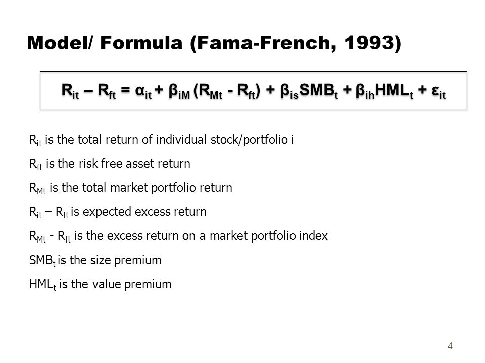 fama french model The fama french three factor model finds that stock investors most care about three variables: market, size and value each of these three variables has associated with it a priced risk, or equity premium.