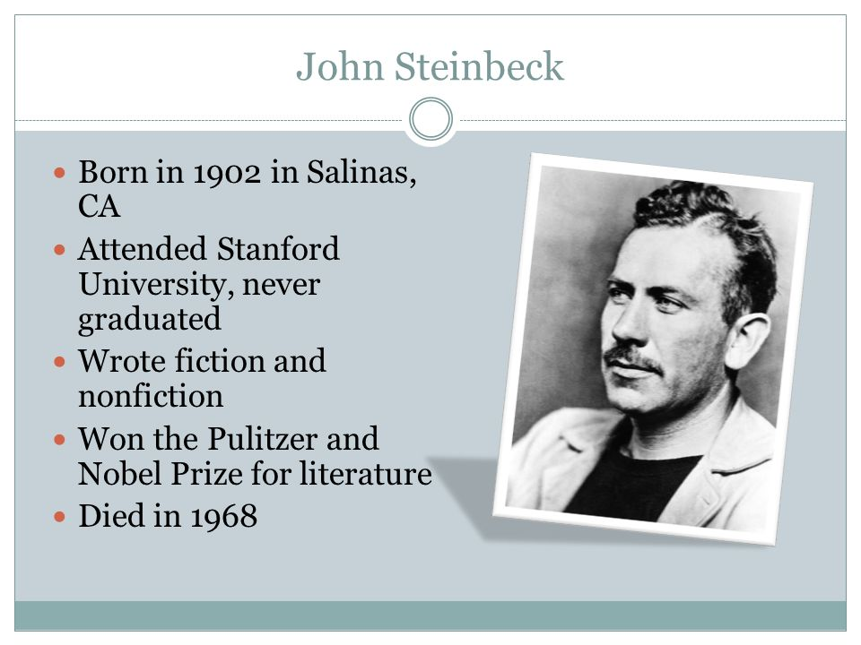 Nobel Prize For Literature John Steinbeck Of Mice and Men By Joh...