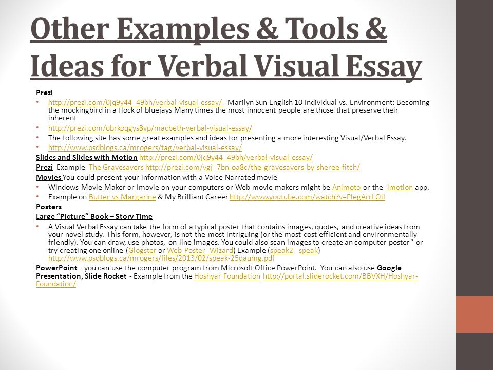verbal visual essay rubric Eng1d1 verbal-visual essay rubric i media criterion level 1 limited level 2 adequate level 3 considerable level 4 skillful mark form choice of images and verbals to communicate the novel's themes, ideas and/or conflicts, including title & author placement of verbals in relation to visual images.