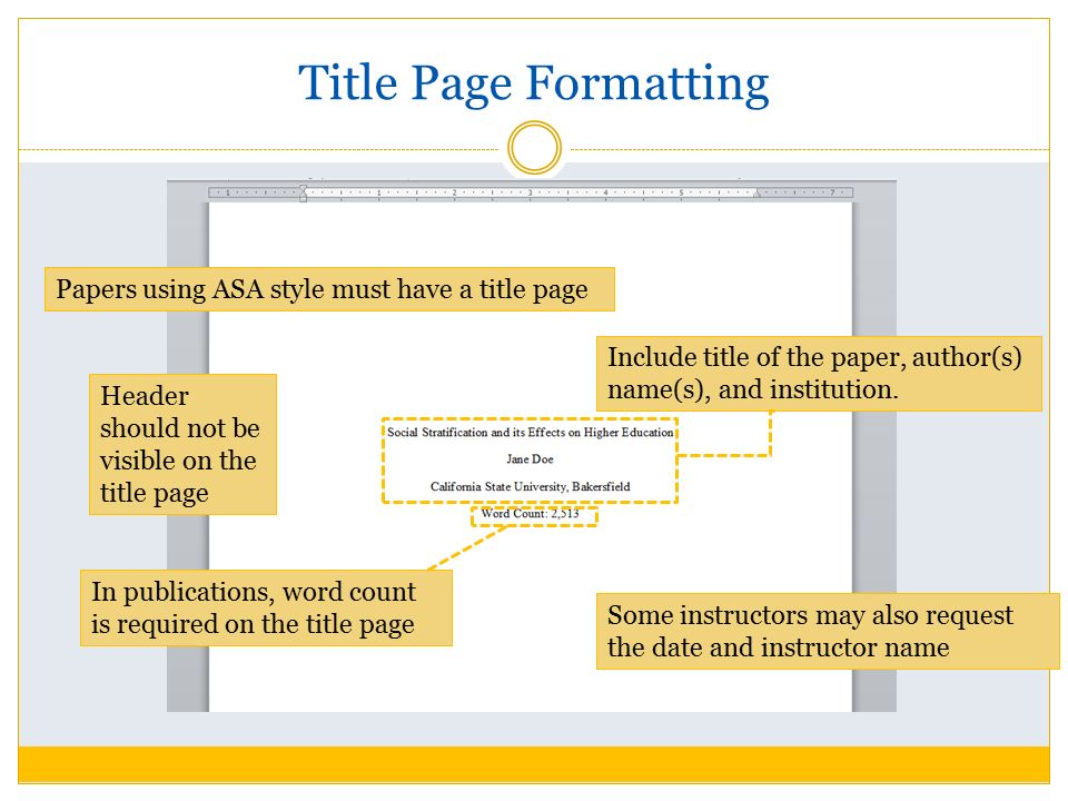 formatting research paper title page Fill in the following fields click create title page button cut and paste the title page into your paper.