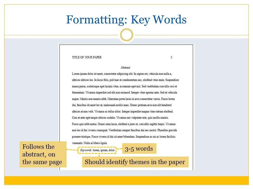 Apa 5th edition essay format