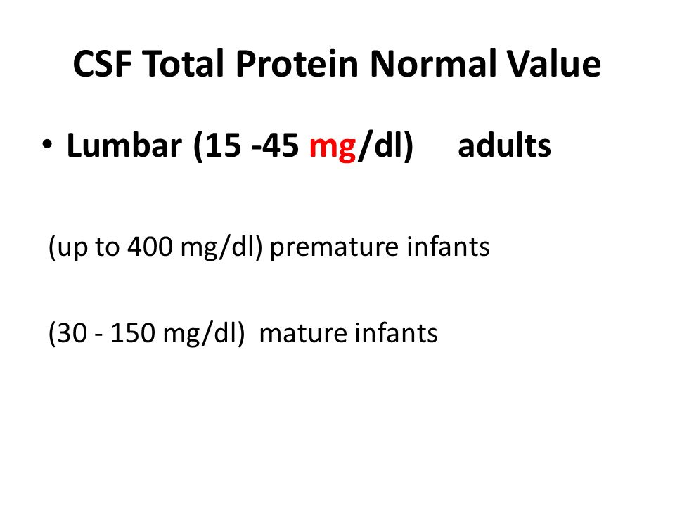 CSF Total Protein Normal Value