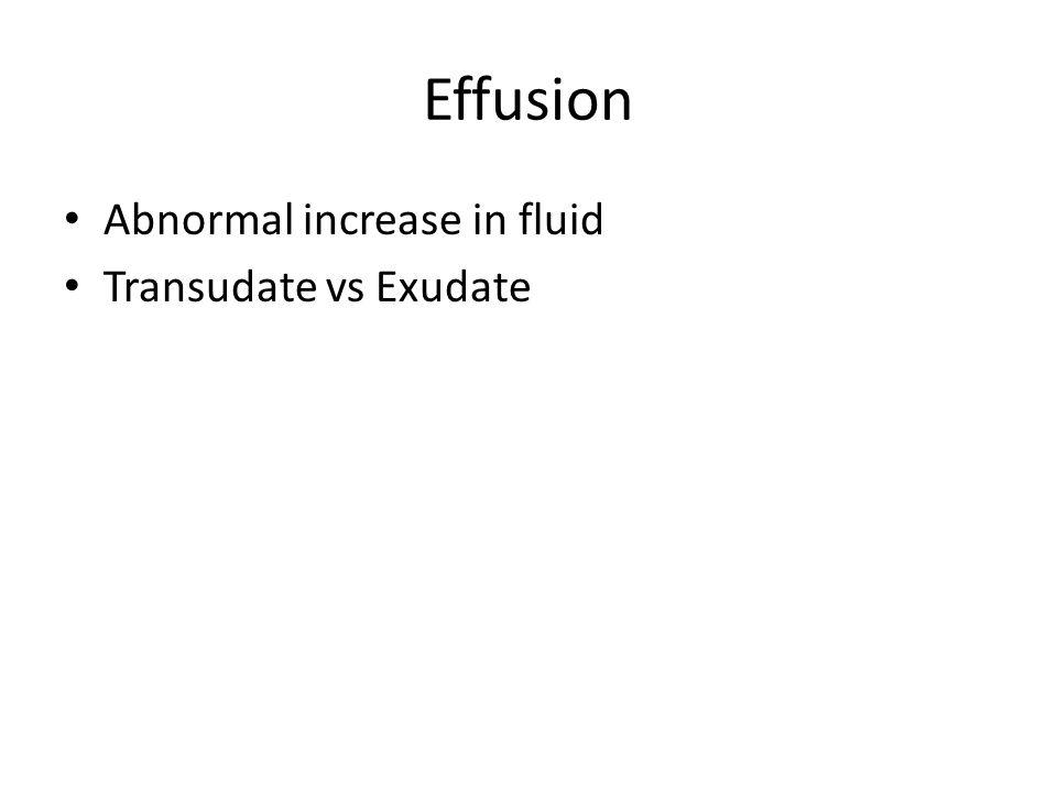 Effusion Abnormal increase in fluid Transudate vs Exudate