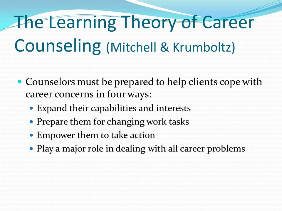 theory of career development essay Major career development theories: again these include but are not limited to: trait-factor theory: the trait-factor theory of career development goes as far back as the early 1900's and is associated mostly strongly with vocational theorists frank parsons and eg williamson some of the basic.