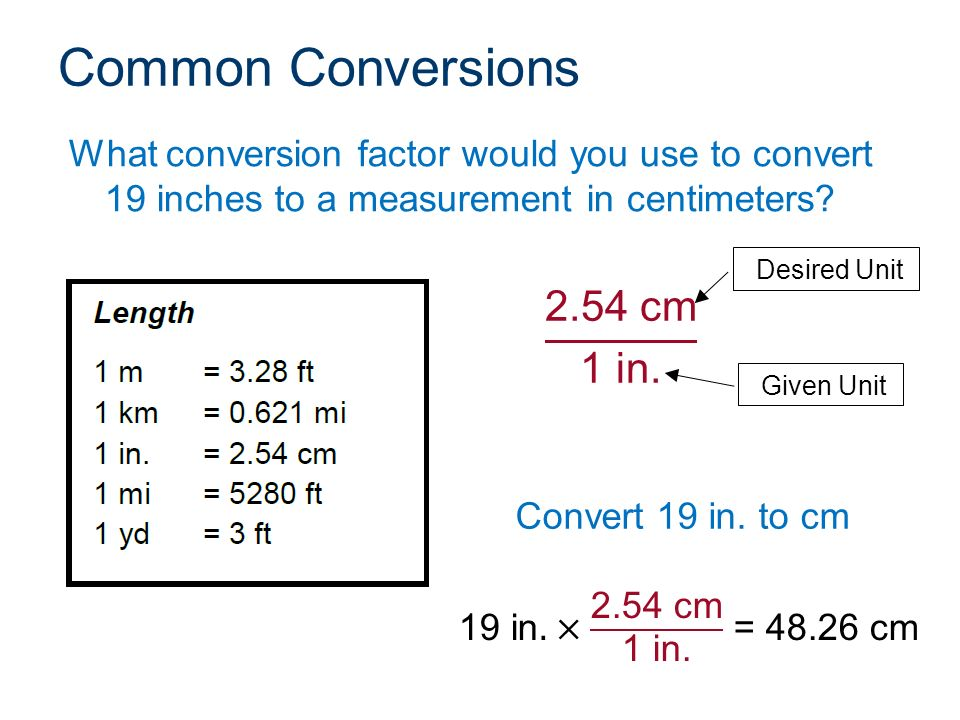 Inches to cm converter. Easily convert Inches to Centimeters, with formula, conversion chart, auto conversion to common lengths, more.