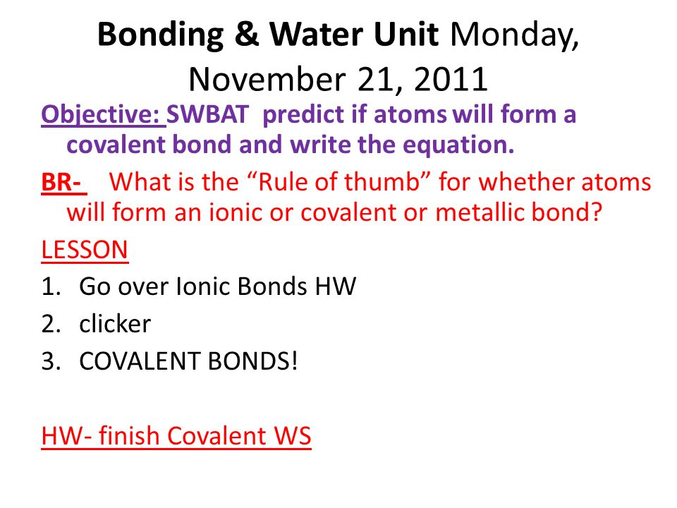 BONDING AND WATER UNIT. - ppt video online download