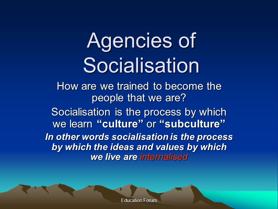 essay agents of socialisation Essays from bookrags provide great ideas for socialization essays and paper topics like essay view this student essay about socialization agents of socialization.
