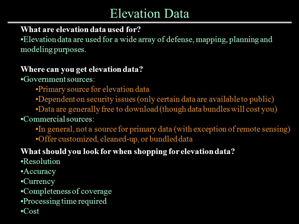 Elevation Data Sources Ppt Video Online Download - Get elevation from latitude longitude