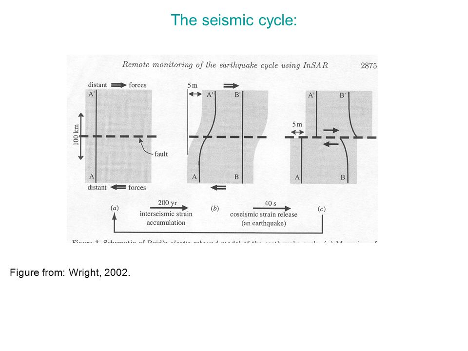 The seismic cycle: Figure from: Wright, 2002.