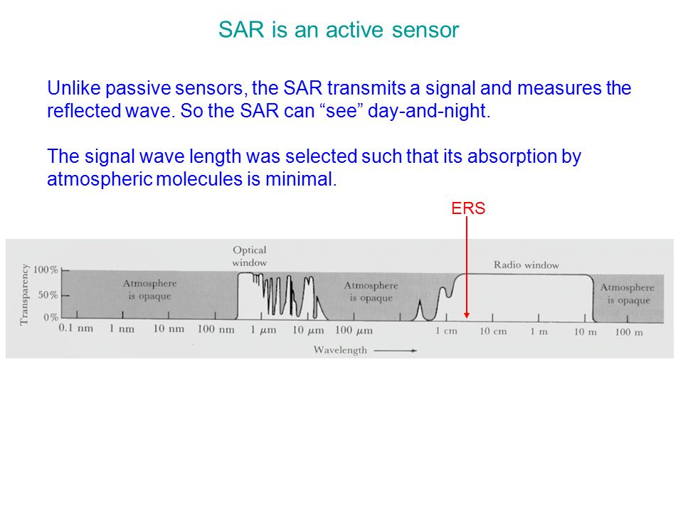 SAR is an active sensor Unlike passive sensors, the SAR transmits a signal and measures the reflected wave. So the SAR can see day-and-night.