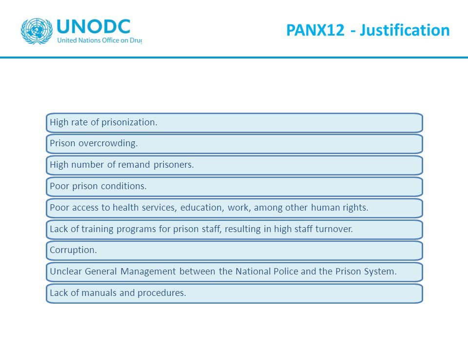 PANX12 - Justification High rate of prisonization.